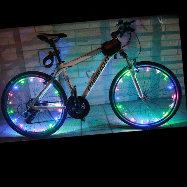 Bicycle Bike Wheel Tire Wire Rope Lights 20 Led Lamp Waterproof