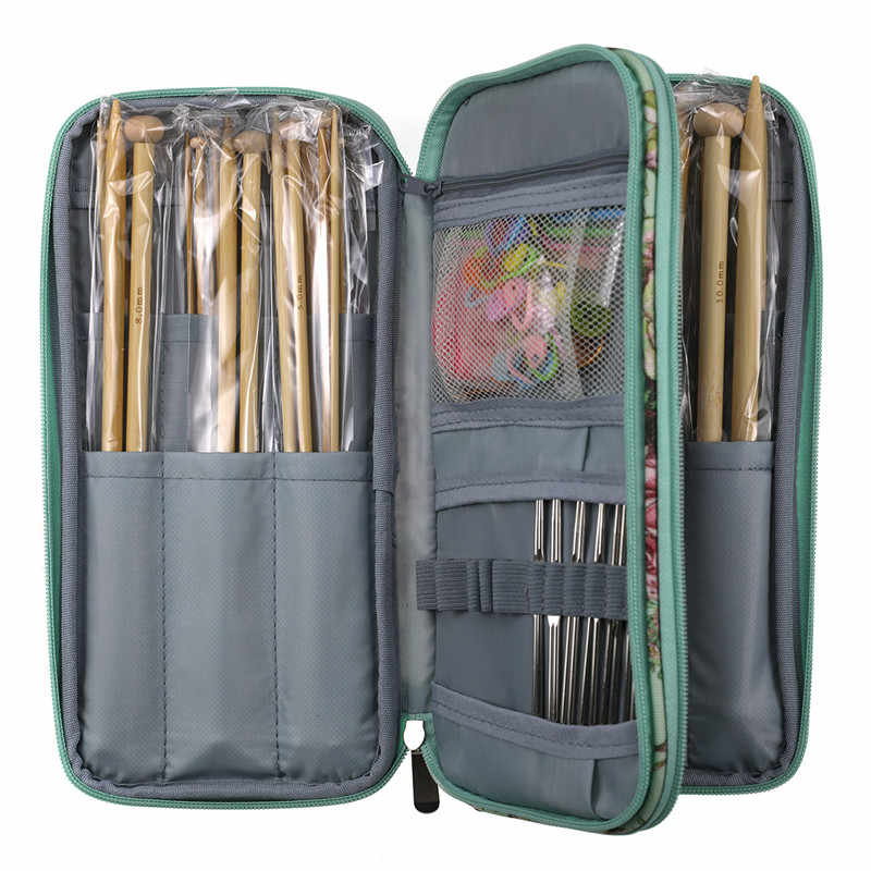 New Big Capacity Empty Crochet Hook Pouch Knitting Needles Kit Case Sewing Needles Scissors Ruler Sewing Accessories Storage Bag