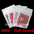 Nails 4 color 4000pcs 1000pcs/pack 3MM Half Round  nail art salon accessories  all for decor with nail gel