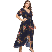 Plus Size Floral Print Boho Dress 2018 Fashion Women Summer Short Sleeve V Neck Wrap Dress Split Sexy Beach XL to 7XL Dress
