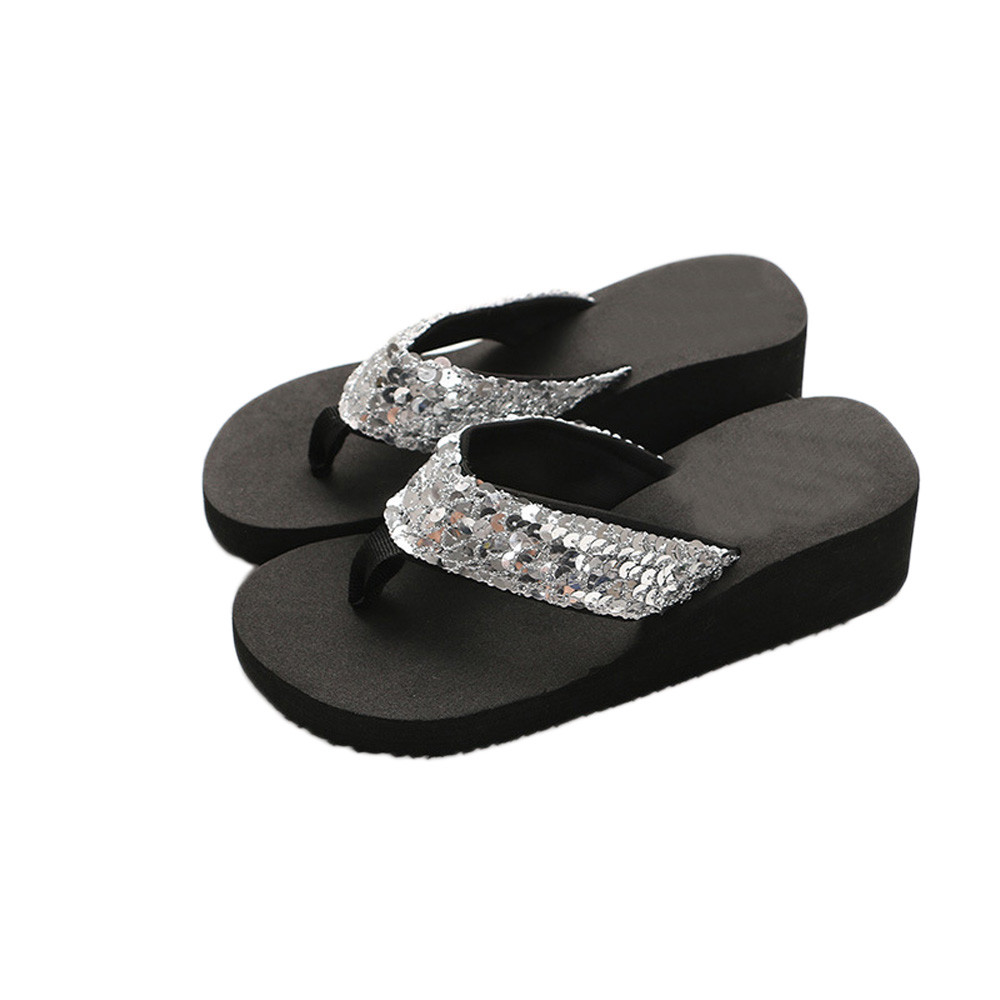 Flat Sandals Shoes Slippers Flip-Flops Sequins Open-Toe Beach-Flip Casual Summer Women