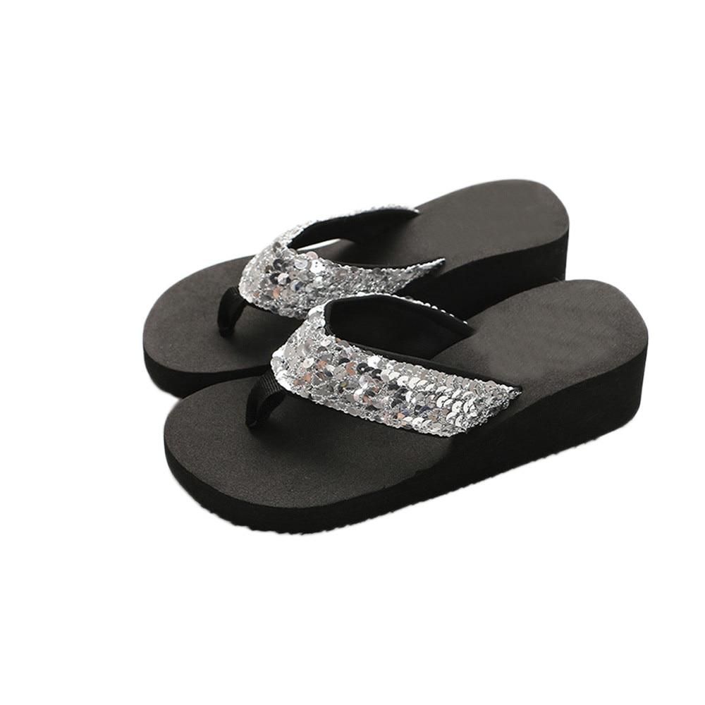 Summer Women Flip Flops Casual Sequins Anti Slip slippers Beach Flip Flat Sandals Beach Open Toe Innrech Market.com