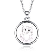 Round 27MM Owl shape Aroma Pendant Necklace Stainless Steel Aromatherapy Essential Oil Diffuser Perfume Locket