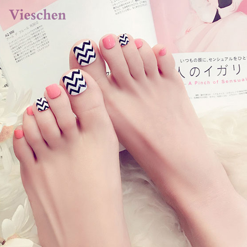 Aliexpress.com : Buy Fresh Fake Toe Nails Wave Pattern