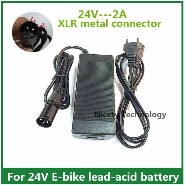 24 v 2a cargador de batería de plomo-ácido cargador ebike scooter eléctrico cargador de ruedas carrito de golf cargador de xlr conector de metal buena