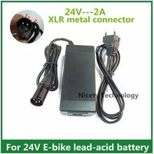 Carregador de Bateria 24 V 2A de Chumbo-ácido Carregador Scooter Elétrica Ebike Cadeira Rodas Golf Cart XLR Conector Metal BOM