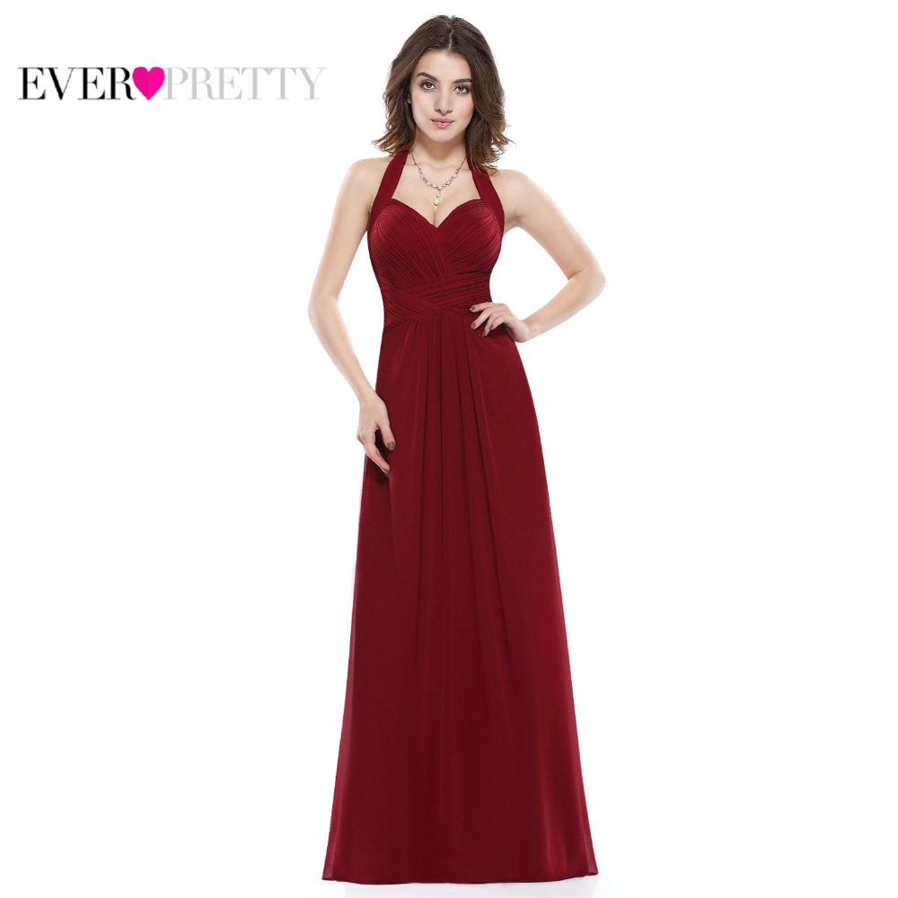 Ever Pretty Women's Elegant   Bridesmaid     Dresses   Halter A-Line Long Chiffon Burgundy Formal Party Gowns Wedding Occation   Dress
