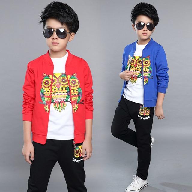 Newest 2017 Spring Boys Clothes Suits Cartoon Coat+T Shirt+Pants 3 Pcs Kids Cotton Suits Children Printing Casual Student Suits