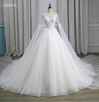цена на Vestidos De Novia Sexy Ball Gown Wedding Dress V-neck Neckline Full Sleeve Chapel Train Plus Size Backless With Lace Appliques