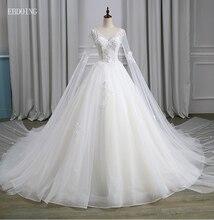 Vestidos דה Novia סקסי כדור שמלת חתונת שמלת V צוואר מחשוף מלא שרוול קפלת רכבת בתוספת גודל ללא משענת עם תחרה אפליקציות