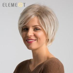 Image 3 - אלמנט 6 אינץ קצר סינטטי פאה לנשים שמאל צד פרידה Ombre אפור כדי לבן גבוהה טמפרטורת החלפת שיער פאות