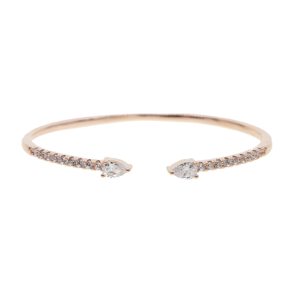 Simply Single Row Cubic Zirconia Bangle Bracelets Rose Gold Color AAA CZ PINK WHITE Women Party Wedding Engagement Jewelry