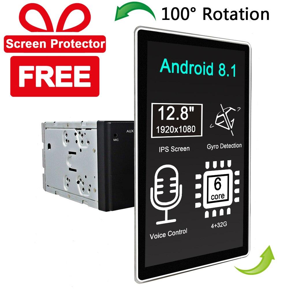 Carbar 12,8 estilo Tesla rotación IPS pantalla 2 Din Universal Android 8,1 coche DVD reproductor GPS Radio coche estéreo Control de voz