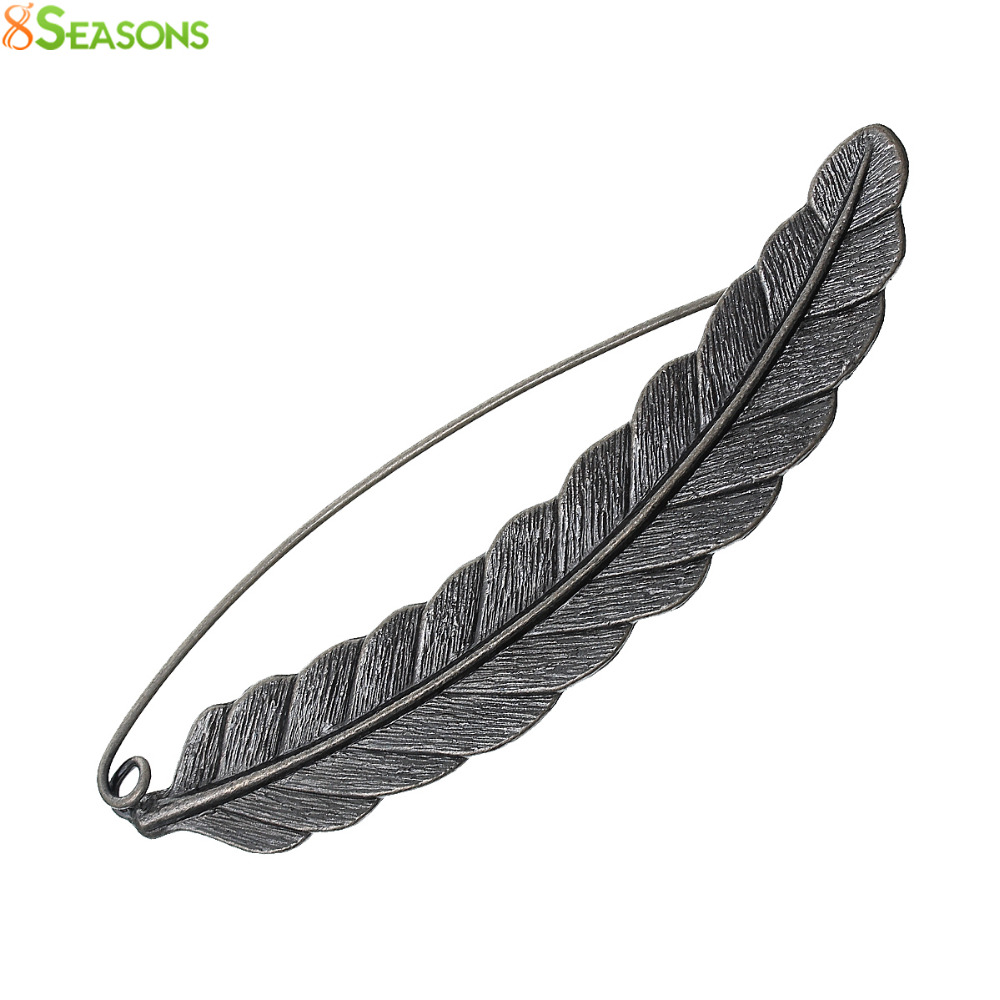 8SEASONS Safety Brooches Pins Feather antique silver-color 8.5cm x 2.1cm(3 3/8 x 7/8), 1 PC