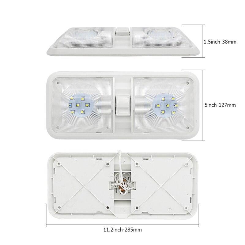 מיכל אסלה חרסה 28.5CM 12V LED קרוון פן אורות קרווני Motorhome קרוון מנורת מוטורי בית אבזרי אור כיפה עם מתג (2)