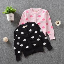 Toddle Baby Cardigan Cotton Knitted Sweater Single Breasted Dot Printted O-Neck Collar Jacket Comfortable Threaded sleeve S090