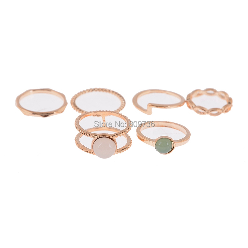 9pcs Vintage Ring Set Unique Antique Gold Knuckle Midi Rings For Women Party Boho Beach Jewelry Stone Rings Wholesale