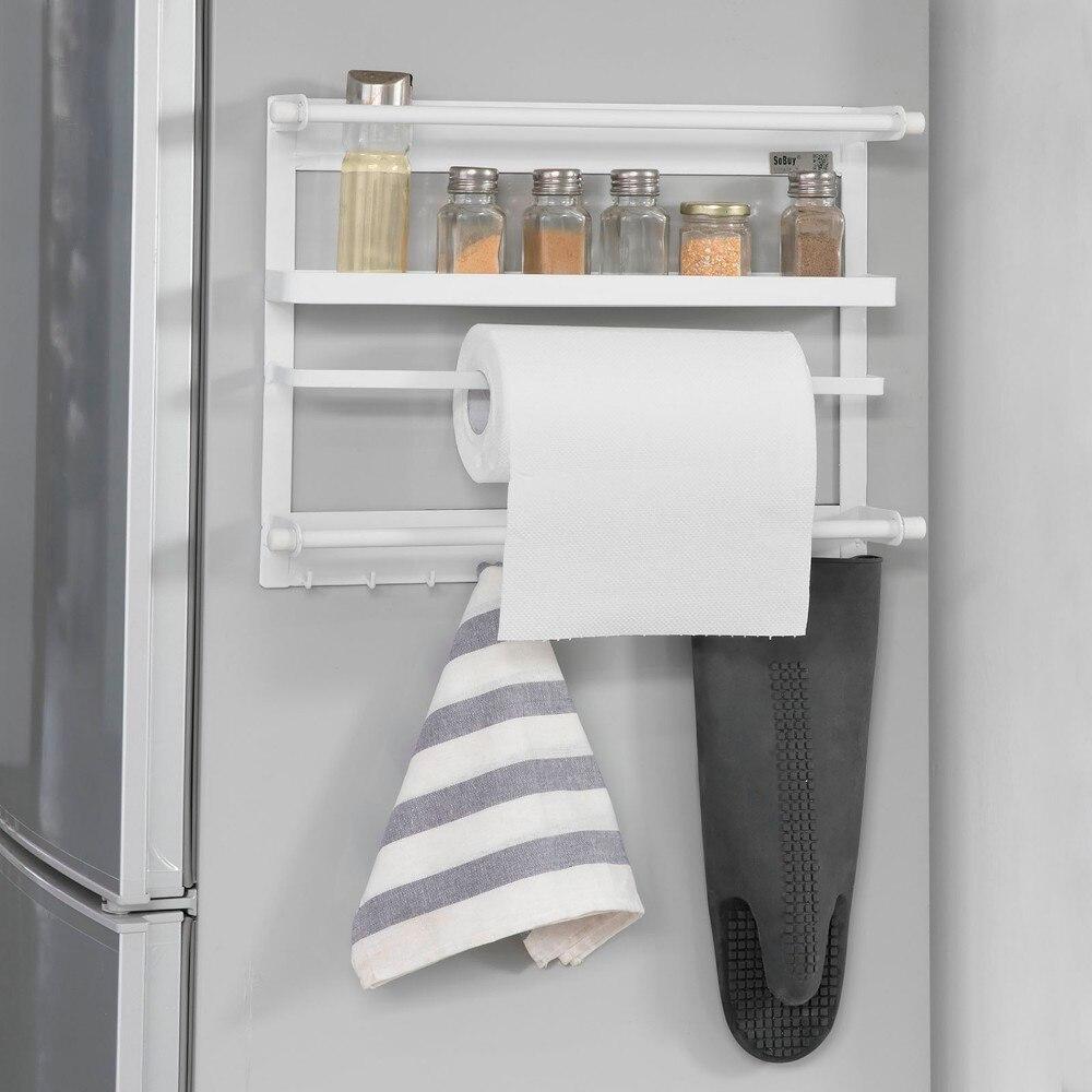 SoBuy FRG247-W, support à épices de cuisine en métal, porte-rouleau papier de cuisine, support de rangement suspendu pour réfrigérateur