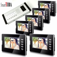 SmartYIBA 7 Hands free Video&Audio Home Intercom With 6 Monitors Visual Intercom Kit Video Call for Apartment Security System