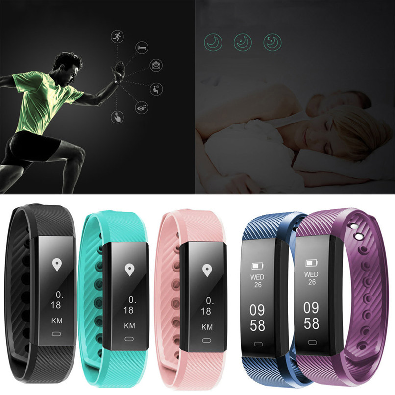 Best Price Smart Fashion Bluetooth Bracelet Heart rate Pedometer Fitness Tracker for Android IOS Free Shipping