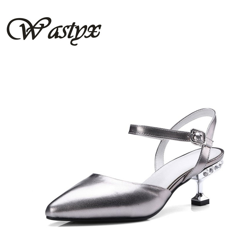 Wastyx new summer genuine leather women shoes fahsion high heel sandals woman pointed toe zapatos mujer thin heel women pumps fashion suede leather heeled sandals pointed toe lace up women pumps spikle high heel women shoes zapatos mujer