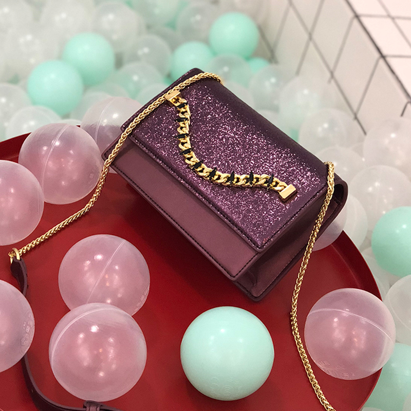 2019 new chain bag personality fashion color contrast sequins chain small square bag one shoulder diagonal Handbags in Shoulder Bags from Luggage Bags