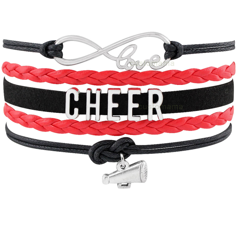 Cheer Leader Mom Sports Megaphone Infinity Love Charm Bracelets Black Blue Red Women Men Boy Girl Unisex Jewelry Many Styles