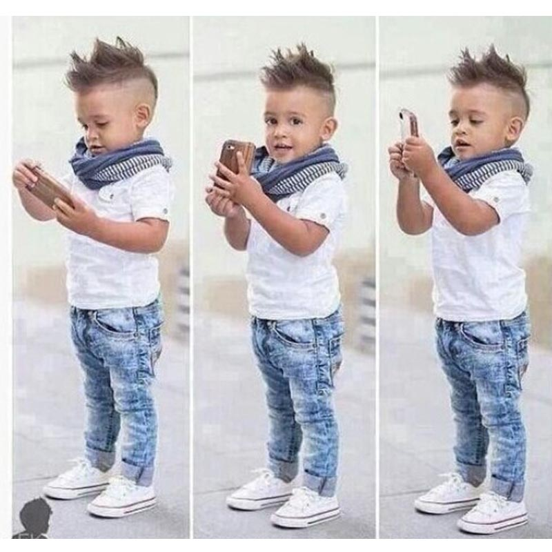 8d173aecf 2pcs Toddler Kids Baby Boys Gentleman White Tees Short Sleeves Shirt+Denim  Jeans Pants Clothes Outfits Set 2-7Y