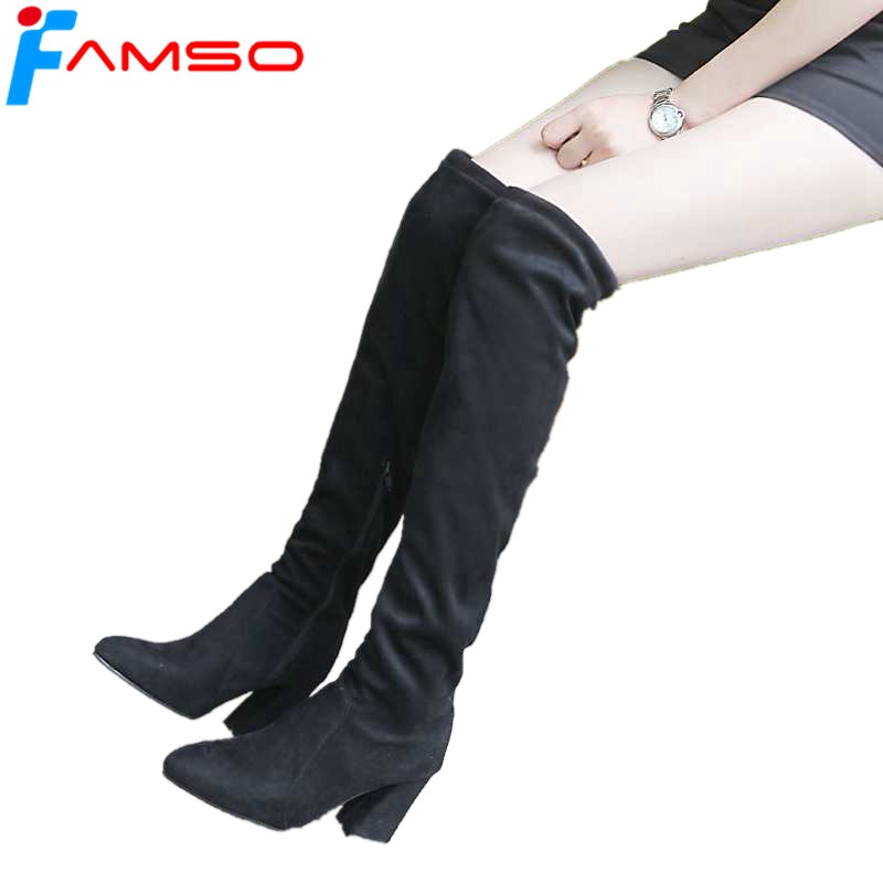 FAMSO 2018 New Women Boots High Hoof Heels Shoes Big Size 34-43 Autumn Suede Over the knee Boots Winter Outdoor Thigh High Boots