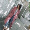 Пальто Леди широкий женщин 2017 Новое Пальто Весна Траншеи Смеси Длинный дизайн с поясом капюшоном Осень Зима Топ качество