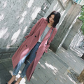 Trench Coat Lady wide Women's 2017 New  Overcoat Spring Trenches Blends Long design with belt hood Autumn Winter Top Quality
