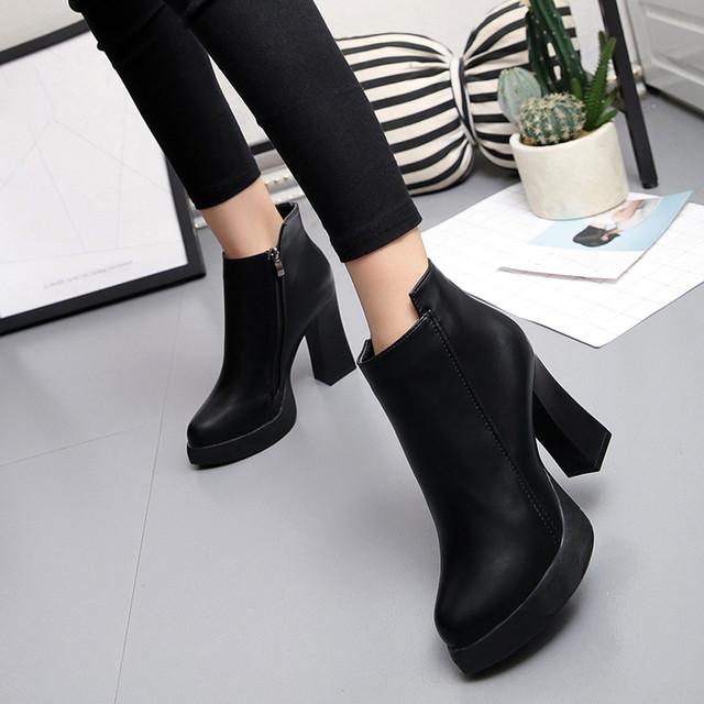 Cálidas botas de Moda de invierno Sexy Botas de Tacón Alto Para Las Mujeres señaló Martin Botas Cortas Gruesa Bota Corta Zapatos de Mujer Alta calidad