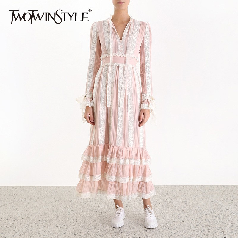 TWOTWINSTYLE Elegant Lace Patchwork Women Dress V Neck Flare Sleeve High Waist Bandage Ruffles Midi Dresses Female Fashion 2019-in Dresses from Women's Clothing    1