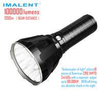 Linterna LED IMALENT MS18 CREE XHP70 100000 lúmenes luz Flash impermeable con batería 21700 Carga inteligente para la búsqueda