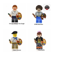 Four styles of Frida Vincent van Gogh Picasso Bob Ross painter compatible with Legoings blocks educational childrens toy gifts