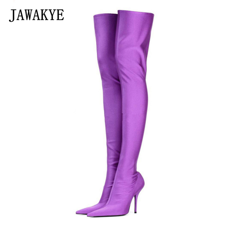 JAWAKYE Purple Candy Color Over The Knee Boots Women Sexy Point toe Stiletto High Heel Thigh High Boots Elastic Sock Long Botas black stretch fabric suede over the knee open toe knit boots cut out heel thigh high boots in beige knit elastic sock long boots
