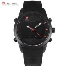 Sawback ángel SHARK Reloj Deportivo Negro 2017 Nueva LED de Negro Rojo Digital Fecha de Alarma Doble Hora Banda de Silicona Resistente al Agua Reloj para los Hombres / SH539