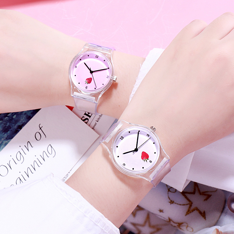 2019 New Japanese And Korean Pink Girl Heart Personality Literary Beauty Little Fairy Watch Transparent Jelly Watch Transparent