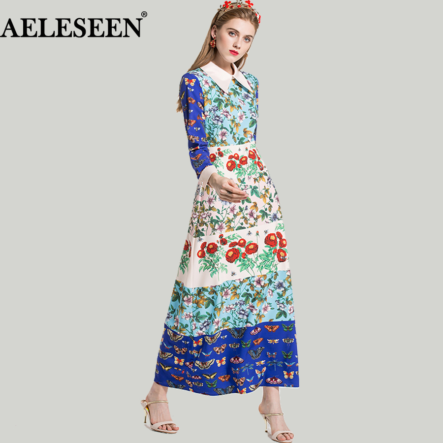 High Quality Boho Dresses Ladies 2018 Spring Fashion Long Sleeve Lapel Insect Flower Print Patchwork Runway