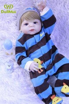 Full silicone reborn baby boy dolls 55cm real baby doll alive bebes reborn corpo inteiro de silicone menino bonecas