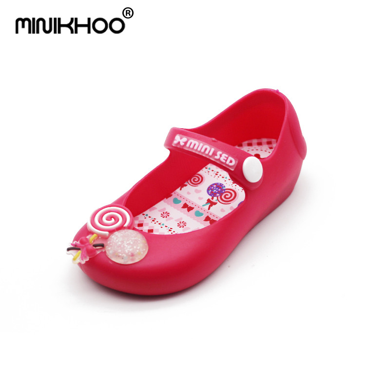 Mini Melissa Lollipop Girl Jelly Sandals Brazil Jelly Shoes Summer Children Shoes Breathable Girl Beach Sandals 13cm-15.5cm
