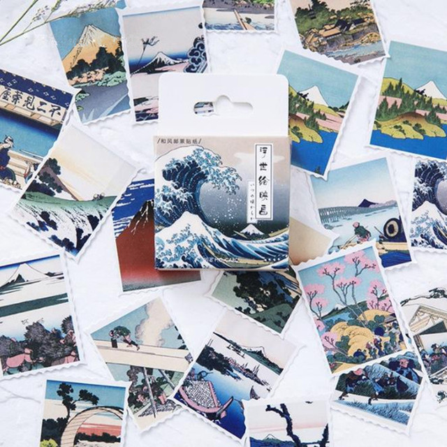 46 unid/caja onda japonesa Mini pegatina de papel decoración DIY diario sello diario pegatinas Kawaii papelería