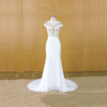 AMANDA NOVIAS Elegant O-Neck Lace Beading Wedding Dresses