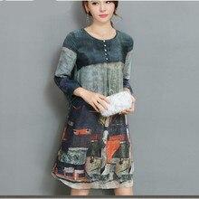 SZMXSS Для женщин печатных шелковое платье шифон линии Повседневное женские офисные по колено платья одежда Vestidos халаты Femme Винтаж