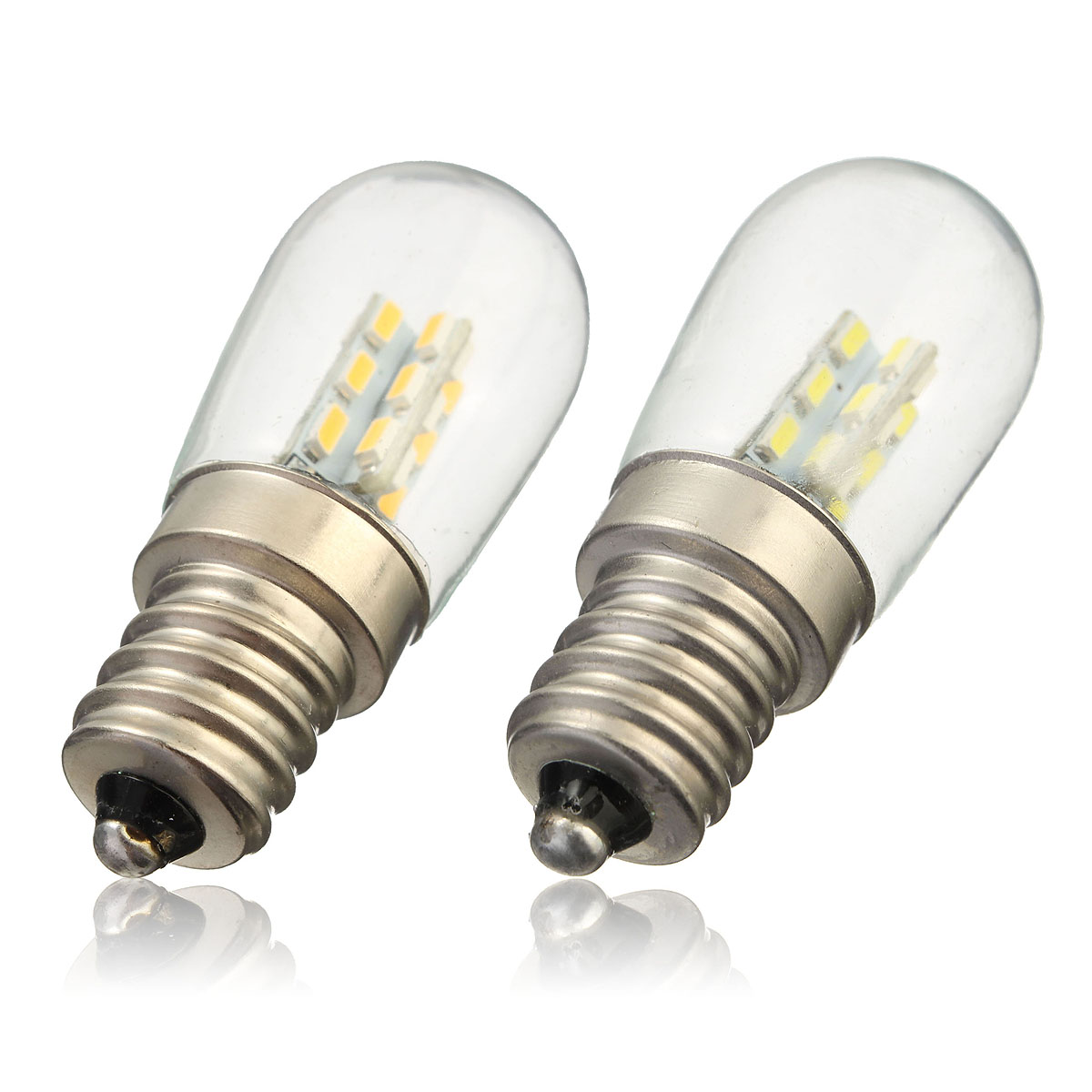 LED Light Bulb E12 2W 3014 SMD 24 LED High Bright Glass Shade Lamp Pure Warm White Lighting 220V For Sewing Machine Refrigerator 4pcs led light bulb 4w smd 48led energy saving lights lamp bulb home kitchen under cabinet lighting pure warm white 110 240v