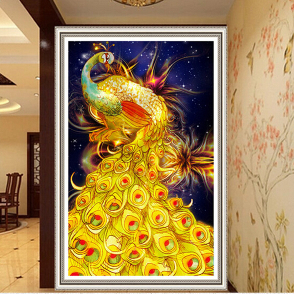 NAI YUE DIY 5D Diamond Painting Cross Stitch Golden Phoen Peacocks ...