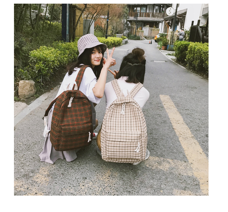 HTB1ZQ.Oa21H3KVjSZFBq6zSMXXaE 2 Pieces Japan style Plaid Style Women Backpack Pencil Case Student Girl School Bag Travel Shoulder Bag For Women 2019 Bagpack