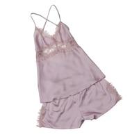 Sexy Women Summer Nightwear Pijamas Sets Real Silk Sleepwear Sets Women Lace Camisole