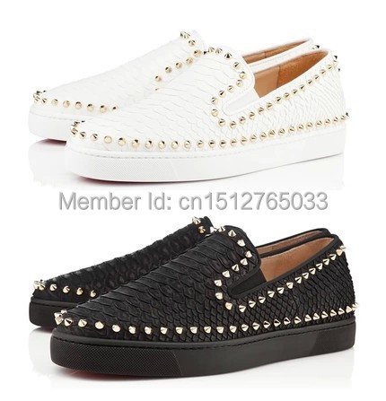 27990618ca2f black Python Snake pattern pik boat gold Spikes Red soles bottom pik boat  shoes brand men women low-top Flats Genuine Leather