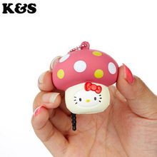 10pcs lot 2colors Mushroom Squishy Toys Hello Kitty Licensed Squishies Wholesale 5cm Cute Original Package Charm